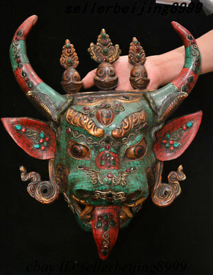 "16"" Tibet Bronze Turquoise Gem Ox Head Deity Conqueror of death Head Mask Statue"