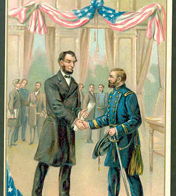 PRESIDENT LINCOLN MEETS GENERAL GRANT,CIVIL WAR,USA FLAG,SWORD,MILITARY POSTCARD