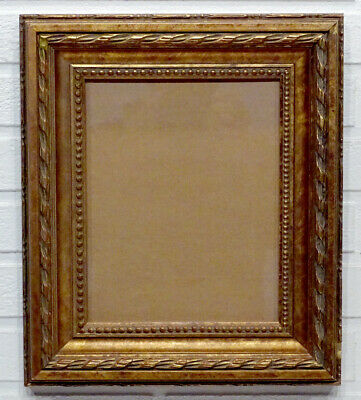Vintage 8x10 gold tone hanging horizontal vertical picture frame thick cut out floral filigree
