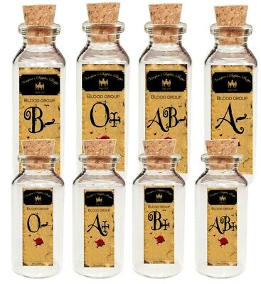 Halloween 8 blood type bottles with labels party favor - Blood Label Halloween
