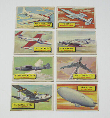 Lot of 8 1957 Topps Planes Blue Backs Vintage Trading Cards - VG to EX