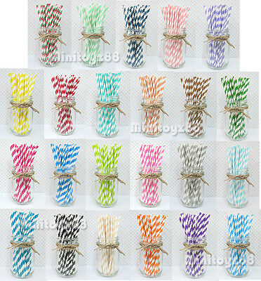 25 50 75 Paper Straws Birthday Wedding Baby Shower Party STRIPPED Free Ship - Birthday Paper