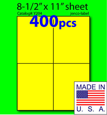 Y204 400 Yellow Fluorescent Shipping Label4-14x5-12