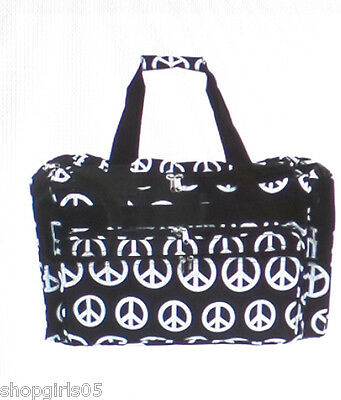 NEW! BLACK AND WHITE PEACE SIGN DUFFFLE BAG/TRAVEL/TOTE
