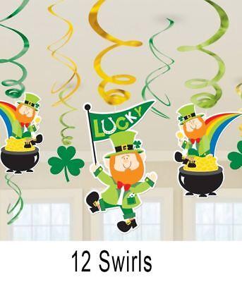 St Patrick's Day Party Leprechaun Shamrock Pot Of Gold Hanging Swirls Decoration ()