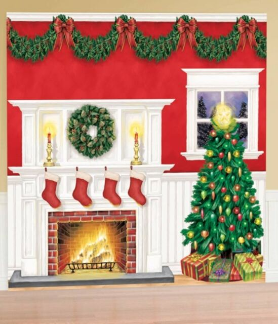 GIANT 6 PIECE CHRISTMAS SCENE SETTER DECORATION KIT Festive Holiday Set 42306