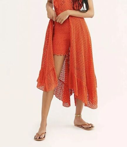 new one caraway orange lace smocked high