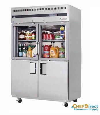 Everest Egsh4 Two Section Glasssolid Half Door Upright Reach-in Refrigerator