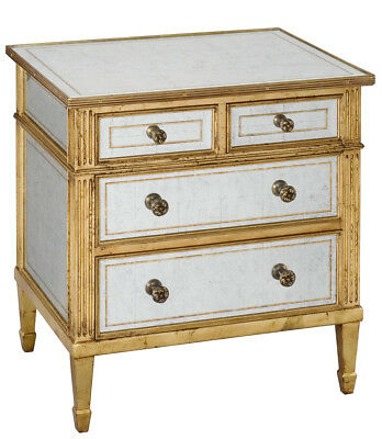 4 Drawer Mirrored Accent Table Nightstand Eglomise Silver Leaf Tempered Glass, used for sale  USA