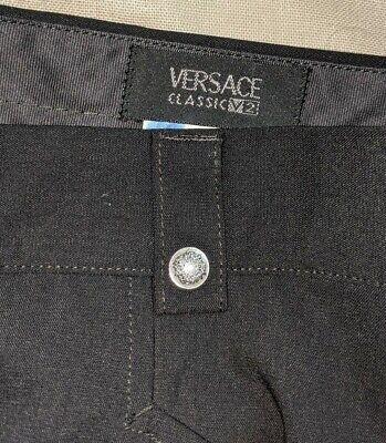 VERSACE Classic Black Flat Front Wool stretch Dress Pants W 38 EU 56R EXCELLENT