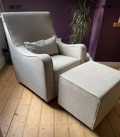 Stunning rocking & 360 spin armchair with footstool