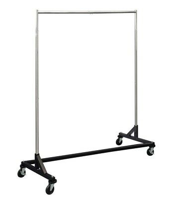 KD 5 ft Black Portable Commercial Grade Z Rack Clothing Garment Clothes Rolling