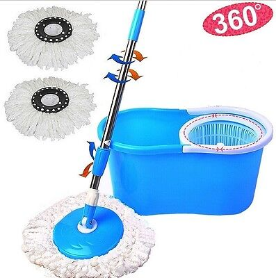 Blue 360  Easy Clean Floor Mop Bucket 2 Heads Microfiber Spin Rotating