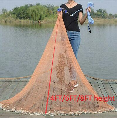 USA 8Ft/12Ft/16Ft Fishing Net Easy Throw Bait Hand Casting Trap Line Mesh Sinker