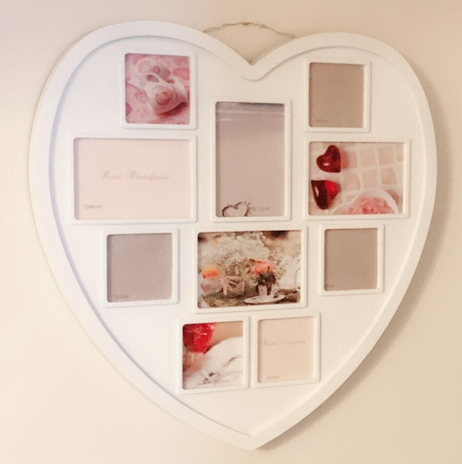 White Heart Shape Collage Picture Frame For 10 Photos Wall Decoration