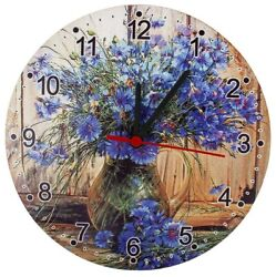 Round Analog Wall Clock Living Room Home Office Floral Cornflowers Pattern