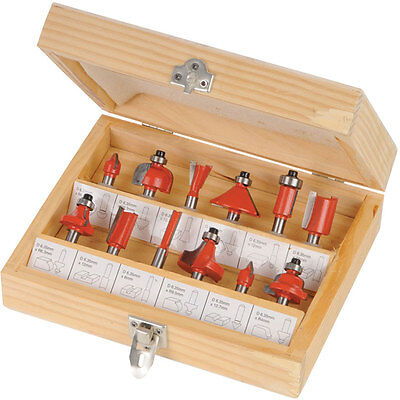 """NEW 12PC 1/2"""" PROFESSIONAL SHANK TCT TIPPED ROUTER BIT SET WITH WOODEN CASE TOOL"""