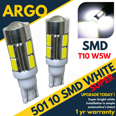 501 10 LED SMD Alto Nivel Freno Bombillas Blanco Xenon T10 W5W...