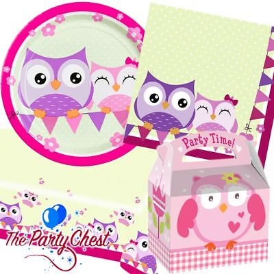 OWL PARTY SUPPLIES TABLEWARE AND ACCESSORIES Plates Napkins Table Cover Boxes ()
