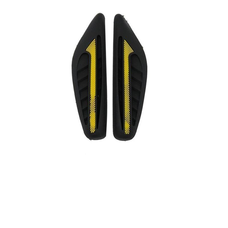 2 x Black Rubber Door Mirror Guard Protectors YELLOW Insert (DG2) MC17/10