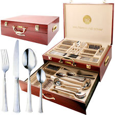 95PC STAINLESS STEEL CUTLERY SET + WOODEN CASE CANTEEN VINTAGE GOLD DINING TABLE