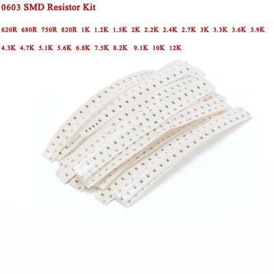 25 Values500pcs 0603 Smd Resistor 620 Ohm - 12k Ohm 5 Assorted Kit