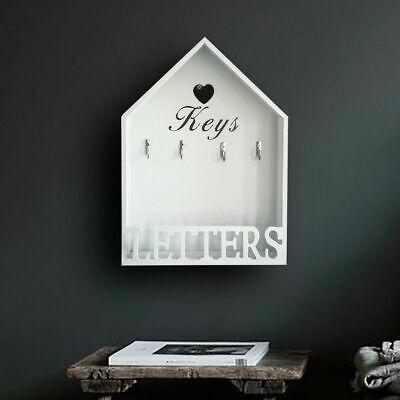 Vintage Hanging Wooden Key Holder & Letter Rack Hooks Storage White Wall Mounted