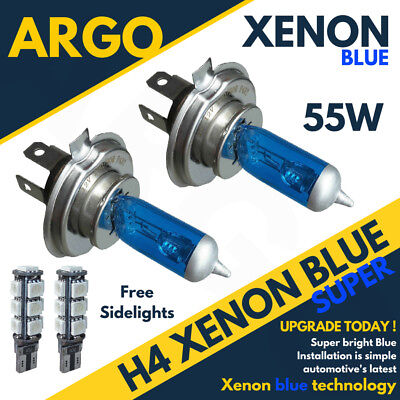 2X H4 472P43T 501 SIDELIGHTS LED SMD SUPER XENON ICE BLUE 55W HEADLIGHT BULBS