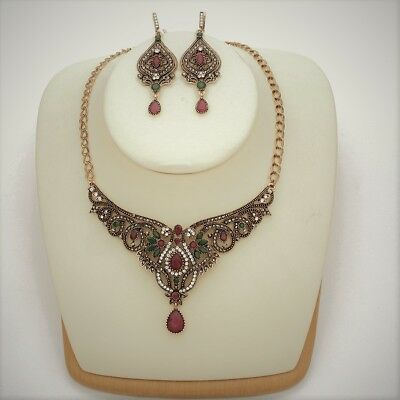 Vintage Style Turkish Jewelry Set Necklace Earrigs Rhinestones Crystals Red