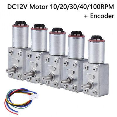 Dc 12v Reversible High Torque Turbo Worm Geared Motor Encoder 10203040100rpm