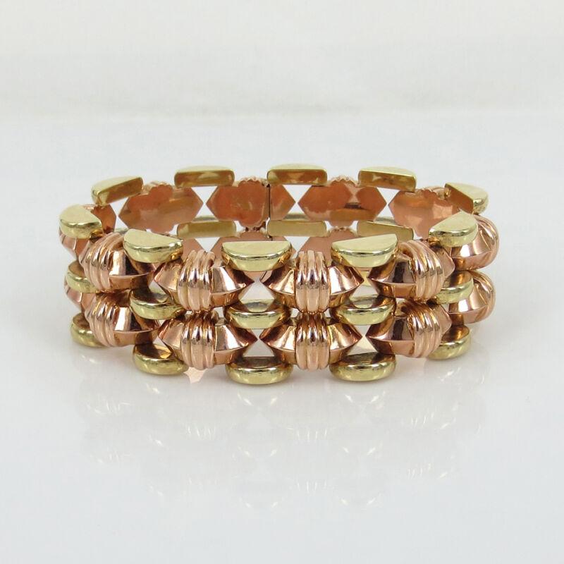 Unique 1950's Retro 14k Rose & Yellow Gold Wide Geometric Pyrmid Bracelet