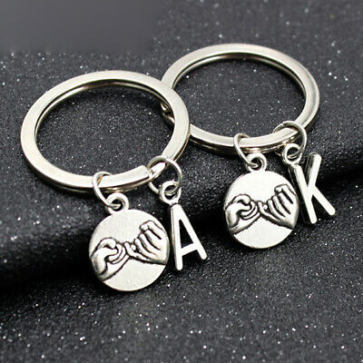 Pinky Promise Charm Keychain Love Keyring A-Z Letter Best Friend Key Ring