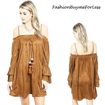 Brown Haute Western Cowgirl Hippie Faux Suede Off Shoulder Tunic Dress S M L XL (Cowgirl Western Dresses)