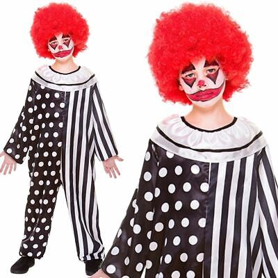 Kids Boys Creepy Scary Killer Clown Circus Fancy Dress Halloween Costume