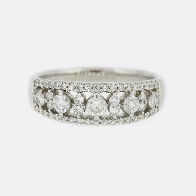 0.78 Carat Diamond Half Band Ring 18ct White Gold