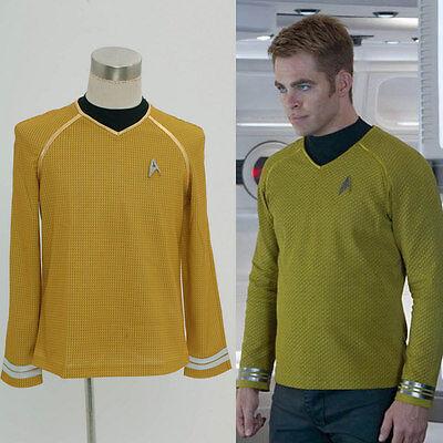 Star Trek Into Darkness Star Fleet Capt Kirk Herren Hemd Gelb Shirt Cosplay Top (Ness Kostüm Shirt)
