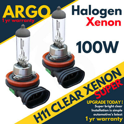 H11 711 SUPER 100W CLEAR GLASS HALOGEN DIPPED LOW BEAM HID HEADLIGHT BULBS 12V