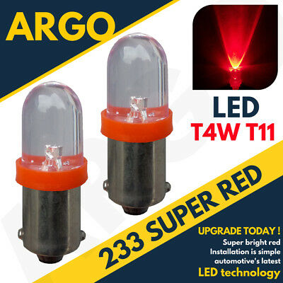 2 X 233 BA9S T4W LED RED FRONT SIDE INDICATOR LAMP BULBS XENON BEAM 12V UPGRADE