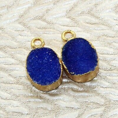 Zj5976 Monsoon Sale Blue Sugar Druzy Gold Plated Handmade Connector Jewelry 2pcs