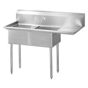 EVIER COMMERCIAL 2 CUVES DOUBLE STAINLESS STEEL CUVE ACIER INOXIDABLE 24 x 24 lavabo