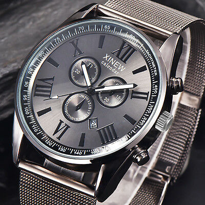 $6.89 - Mens Fashion Luxury Watch Stainless Steel Date Sport Analog Quartz Wristwatches