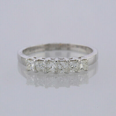 0.60 Carat Six Stone Princess Cut Diamond Ring 14ct White Gold 14ct Princess Cut Diamond
