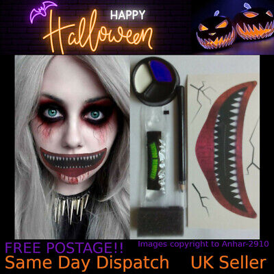 Halloween Clown Make Up Kit Scary Big Mouth Tattoo Horror Face Painting Set