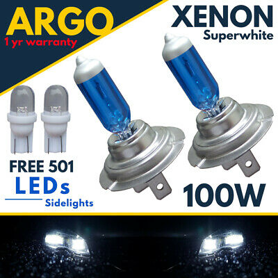 H7 100w Super White Xenon Halogen Headlight 499 Bulbs Hid 12v Led 501 Side light
