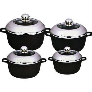 8pc aluminium non stick cooking pan saucepan pot set cookware casserole stock ebay. Black Bedroom Furniture Sets. Home Design Ideas
