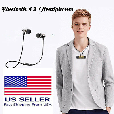 Bluetooth Stereo Earbud Earphone Headset Wireless Magnetic InEar Headphone Black for sale  Shipping to India