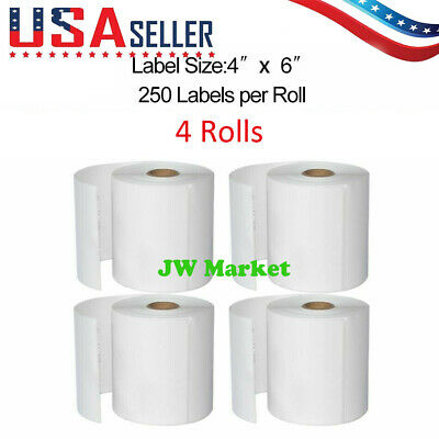 4x6 Direct Thermal Shipping Labels For Ups Usps 250 Labels4 Rolls- 1000 Labels