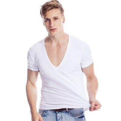 Deep V Neck Tshirt for Men Low Cut Top Tee Fit Short Sleeve Invisible (Short Sleeve V-neck Undershirt)