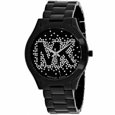 Michael Kors MK3589 Slim Runway Black Logo Wrist Watch for Women