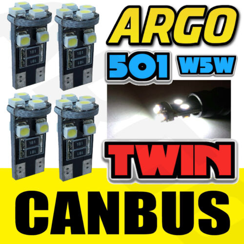4x ERROR FREE CANBUS 501 8 SMD LED REAR TAIL LIGHT BULBS WHITE XENON T10 W5W 194